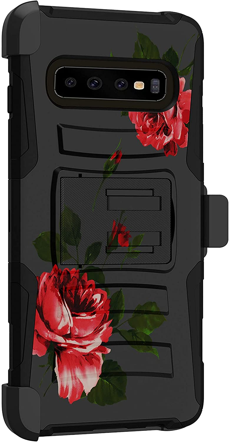 MINITURTLE Compatible with Samsung Galaxy S10 G973U Hard Shell Cover Hybrid Case Kickstand with Holster Clip [Clip Armor] - Red Roses