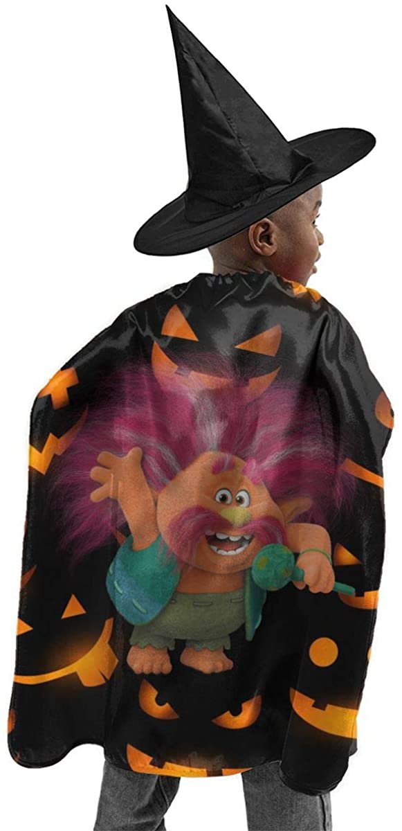 Trolls World Tour King Trollex Halloween Witch Set Cloak Hat Set Boys Girl Child Halloween Decoration Gift