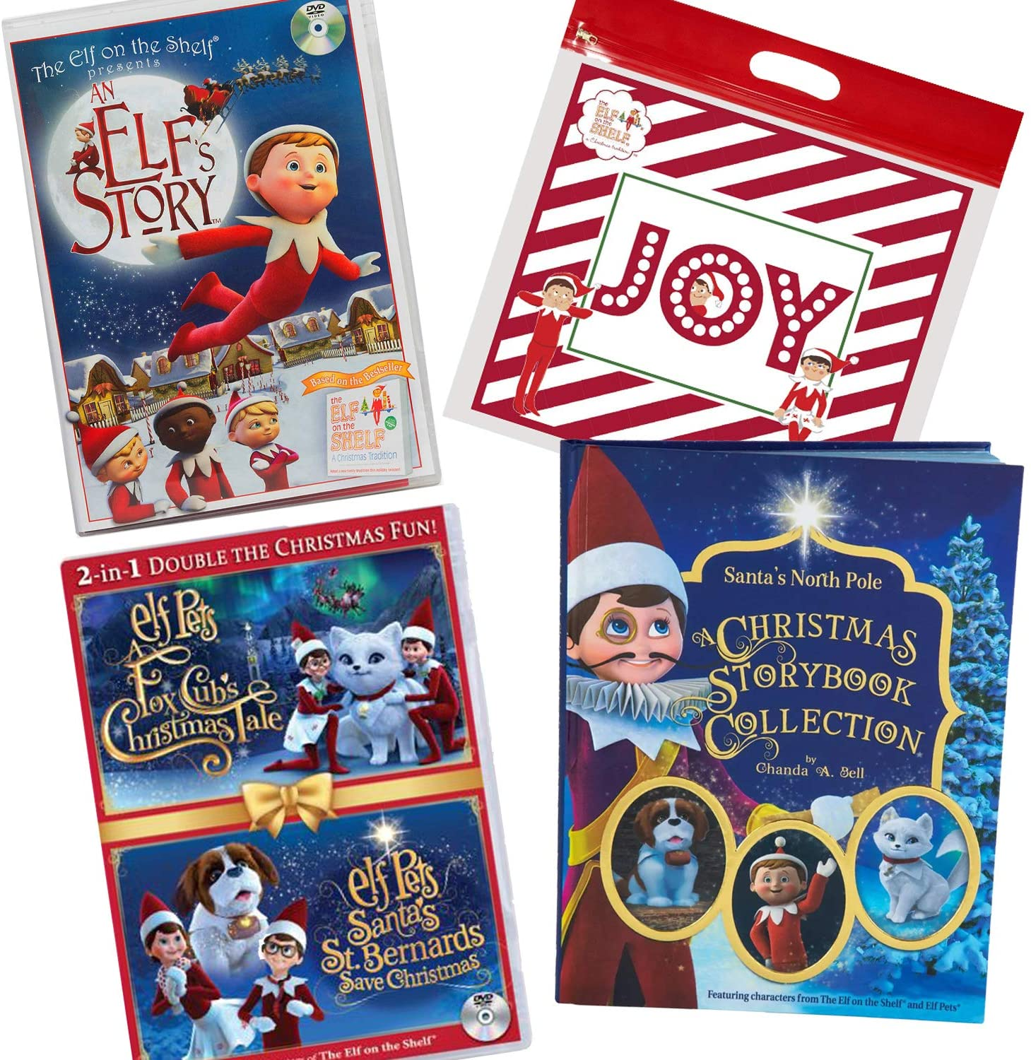The Elf on the Shelf DVD and Book Bundle of 3: an Elf's Story, Elf Pet's Fox Cub and St. Bernard Multipack, and A Christmas Storybook Collection with Joy Bag