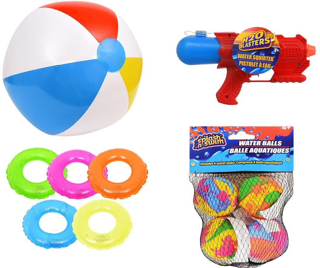 1 Inflatable Floating Swim Rings 20 in (assorted). 1 Beach Ball, 1 Water Gun, Splash N Swim Water Bomb Balls.Toy Bundle Swimming Pool Soaker Set. Great Aqua Toys for Kids and Adults. Outdoor Activity.