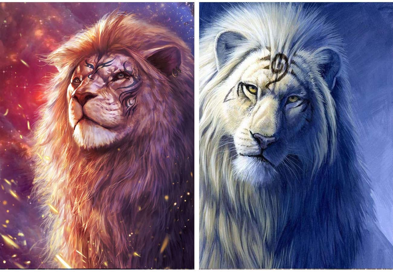 Zariocy 2 Packs Diamond Painting Round Full Drill Starry Sky Lion King by Number Kits, Animal Beast DIY Paint with Diamond Rhinestone Embroidery Home Wall Decor 30x40cm/12x16 inch