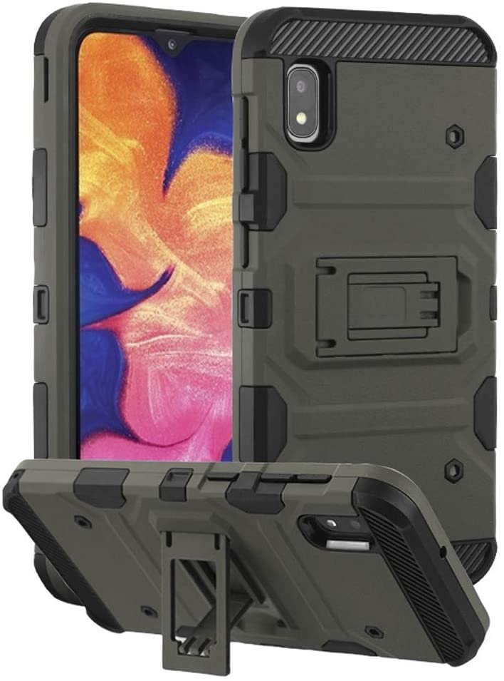 Kaleidio Case Compatible for Samsung Galaxy A10e A102 [Tank Armor] Rugged Dual Layer [Shockproof] Hybrid Impact Cover [Kickstand] [Grey]