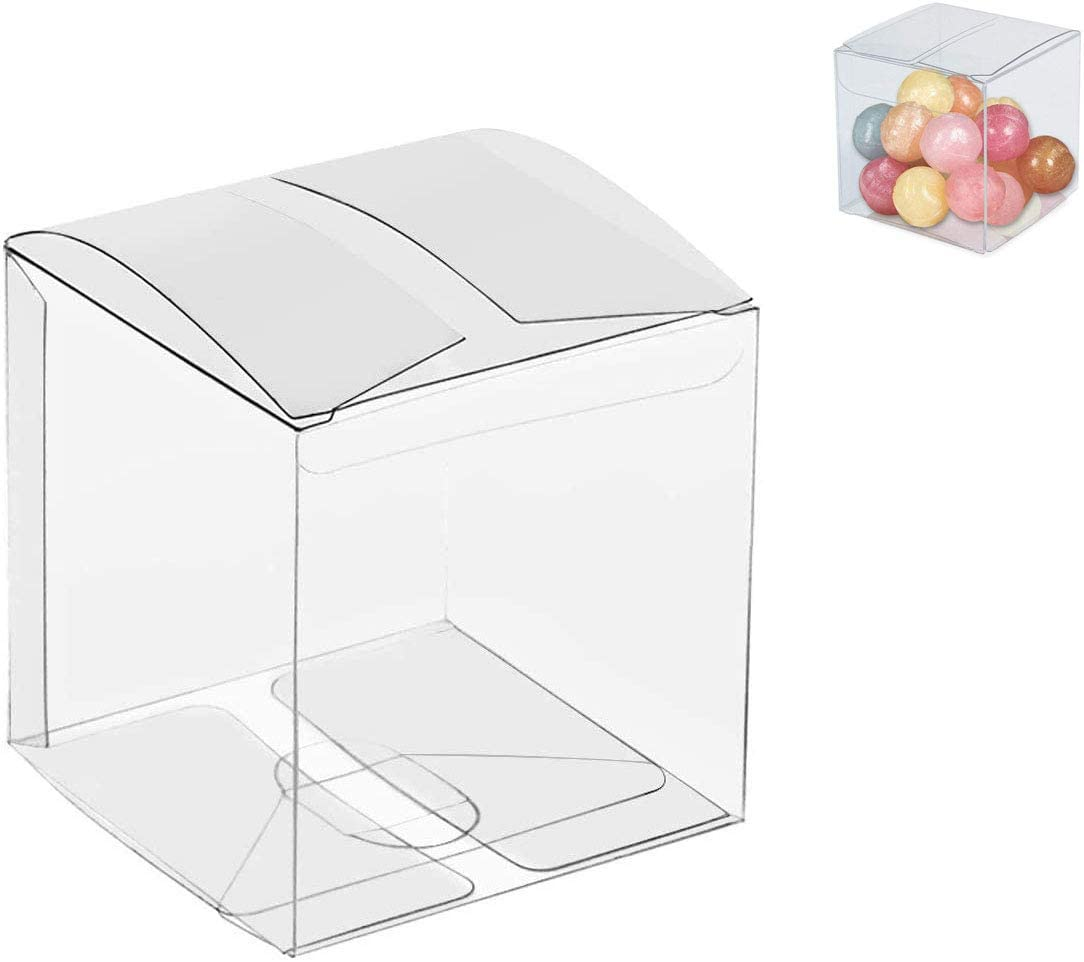 Clear Candy Gift Box, Transparent Cube Boxes PET Boxes for Wedding,Party,Baby Shower,Bridal Shower (5