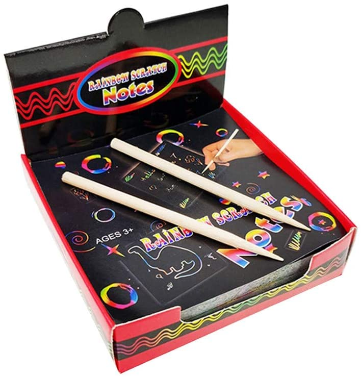 Printasaurus Scratch Notes Set Scratch Doodle Art with 100 Holographic Rainbow Paper,2 Stylus Toys and Hobbies Education Toys