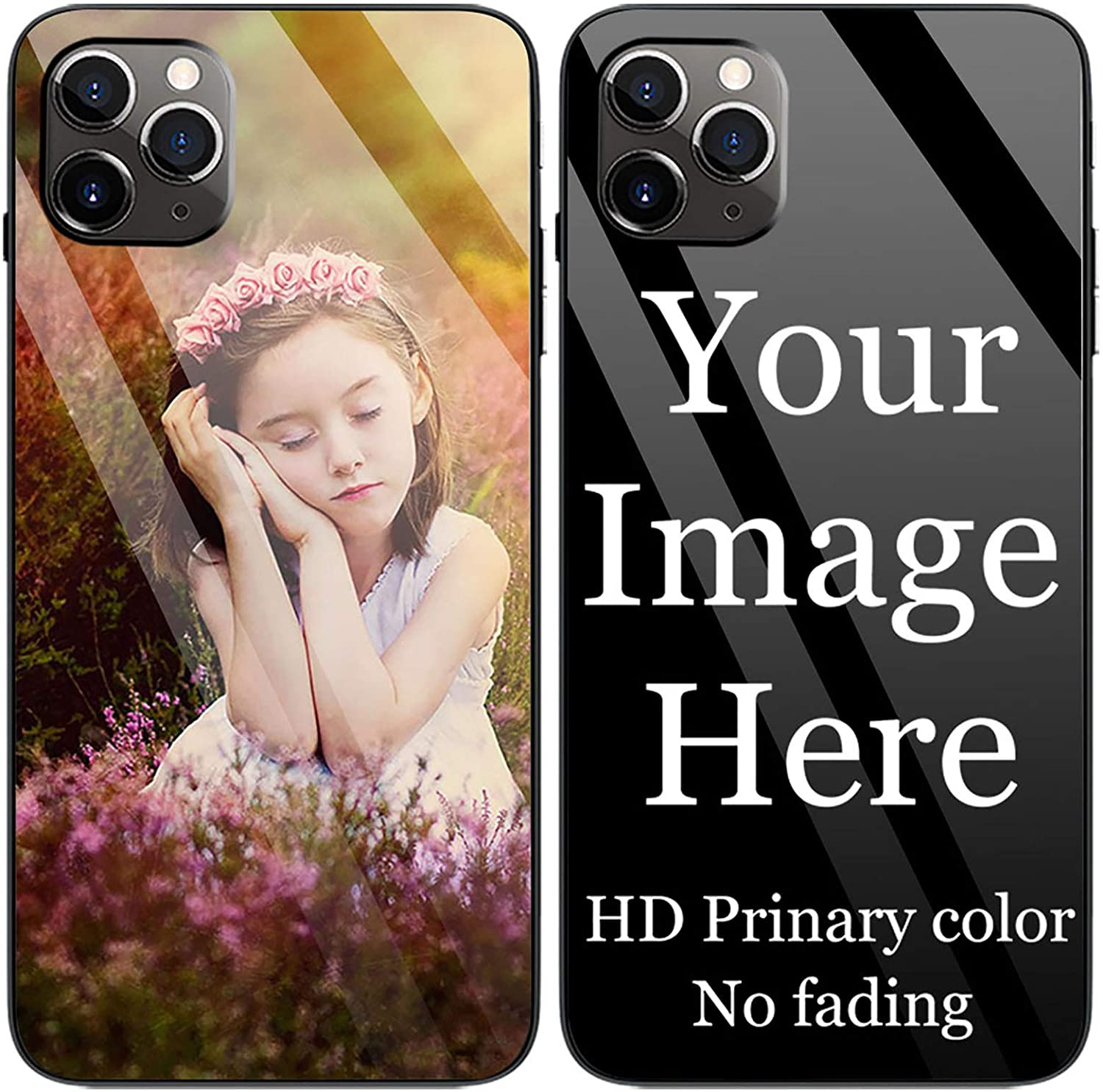 Depthlan Custom Phone Case for iPhone 11 Pro Max iPhone 6 7 8 Plus iPhone Xs Max XR Glass Cover Anti-Scratch Soft TPU Personalized Photo Make Your Own Picture Cases