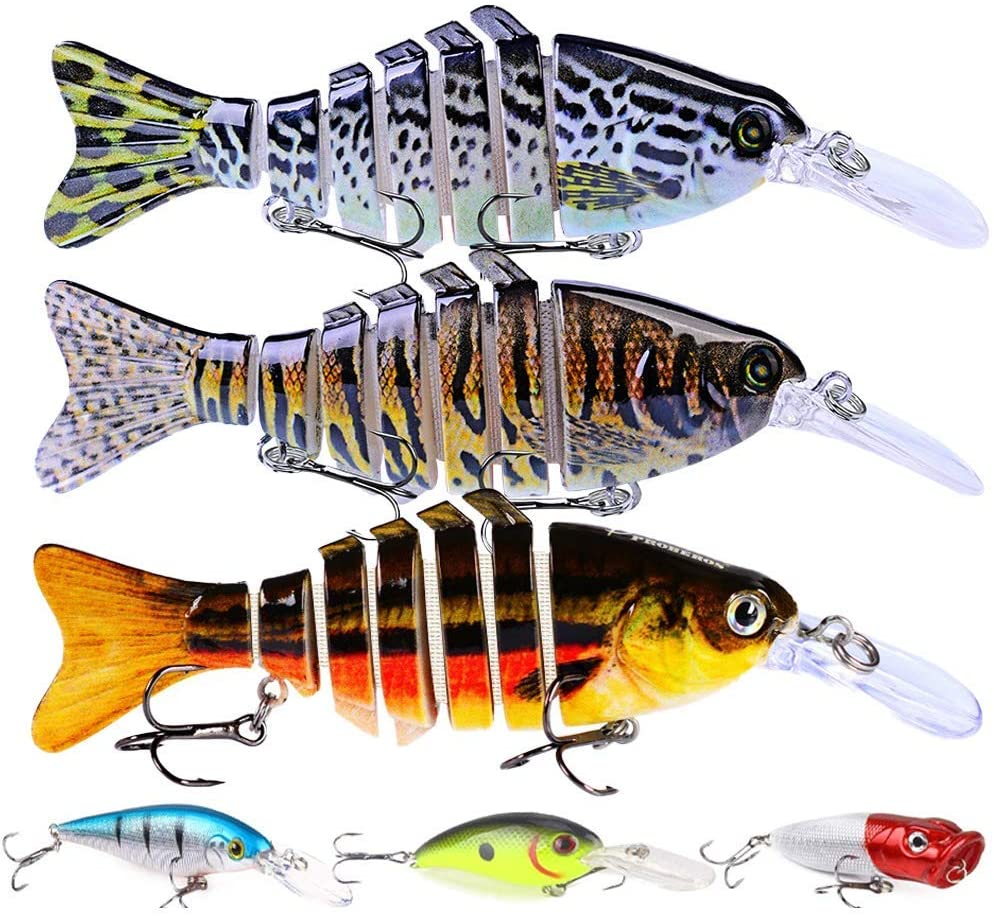 Fishing Lures for Bass Trout Lure Kit Including Multi Jointed Swimbaits Crankbaits Lifelike Señuelos 6Pcs