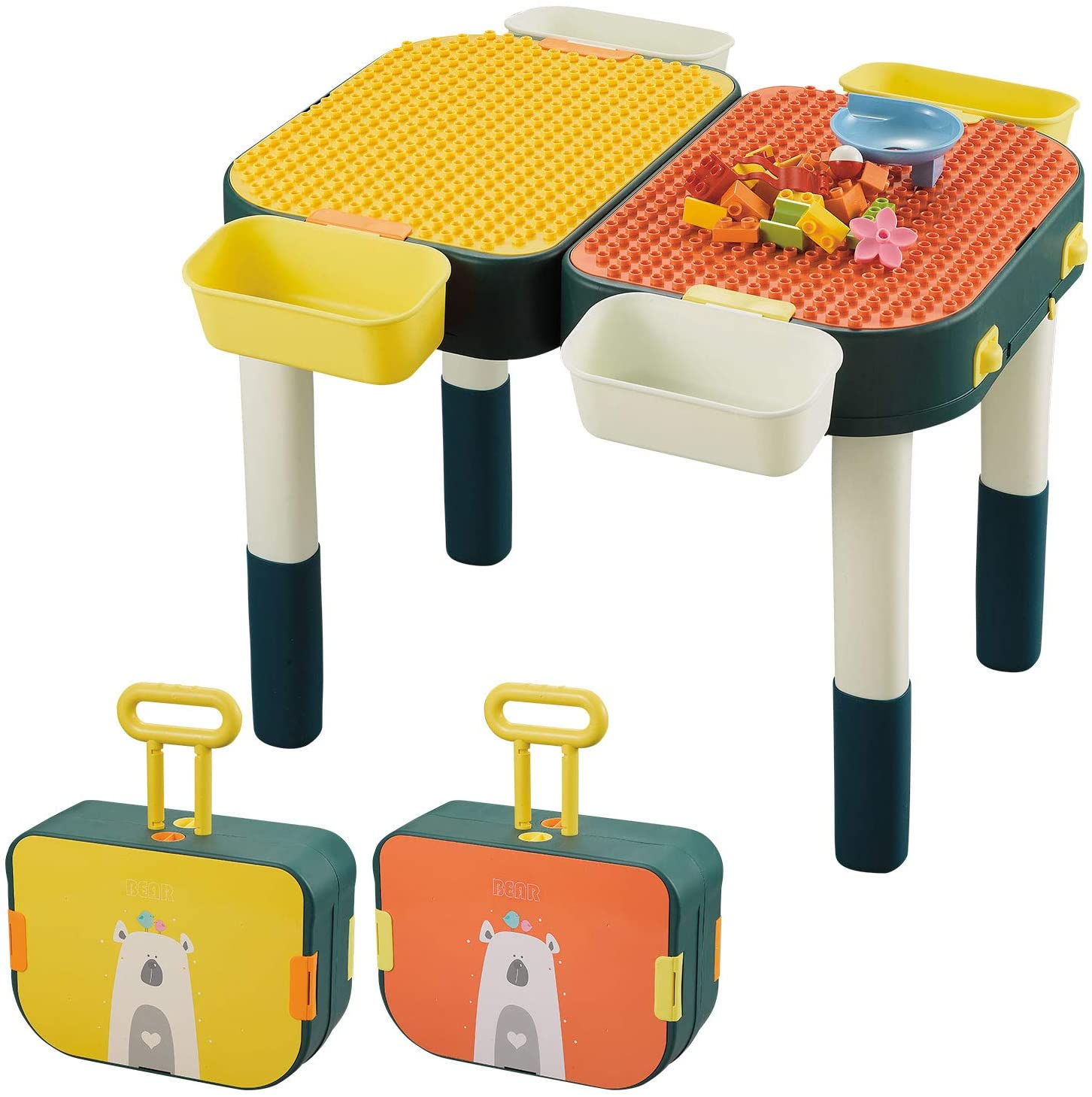 Kids 6-in-1 Multi Activity Desk Building Blocks Compatible Bricks Toy,Learning Desk as Gift,Play Table with Storage
