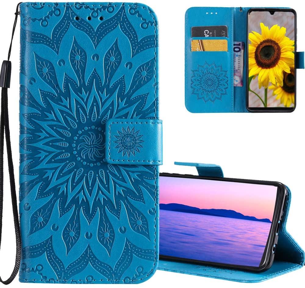 ISADENSER Google Pixel 3A Case Pixel 3A Case Wallet with Magnetic Closure Credit Card Slot Holder [Kickstand] Flip Folio PU Leather Wallet Case for Google Pixel 3A (2019), Sunflower Blue KT