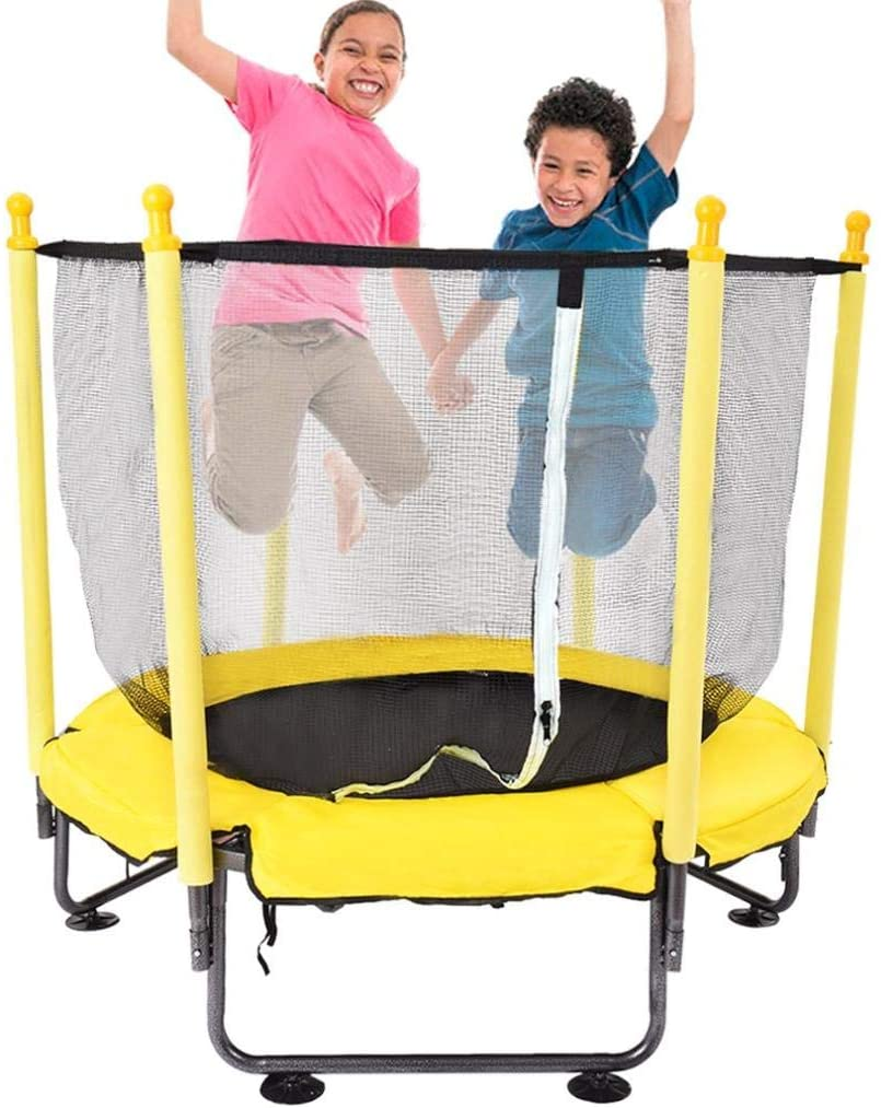 50 Inch Kids Trampoline with Enclosure Net -Jumping Mat and Spring Cover Padding, Baby Toddler Trampoline Toys,Birthday Gifts for Kids Boys Girls, Age 3-12-Heavy Duty to 28 lbs