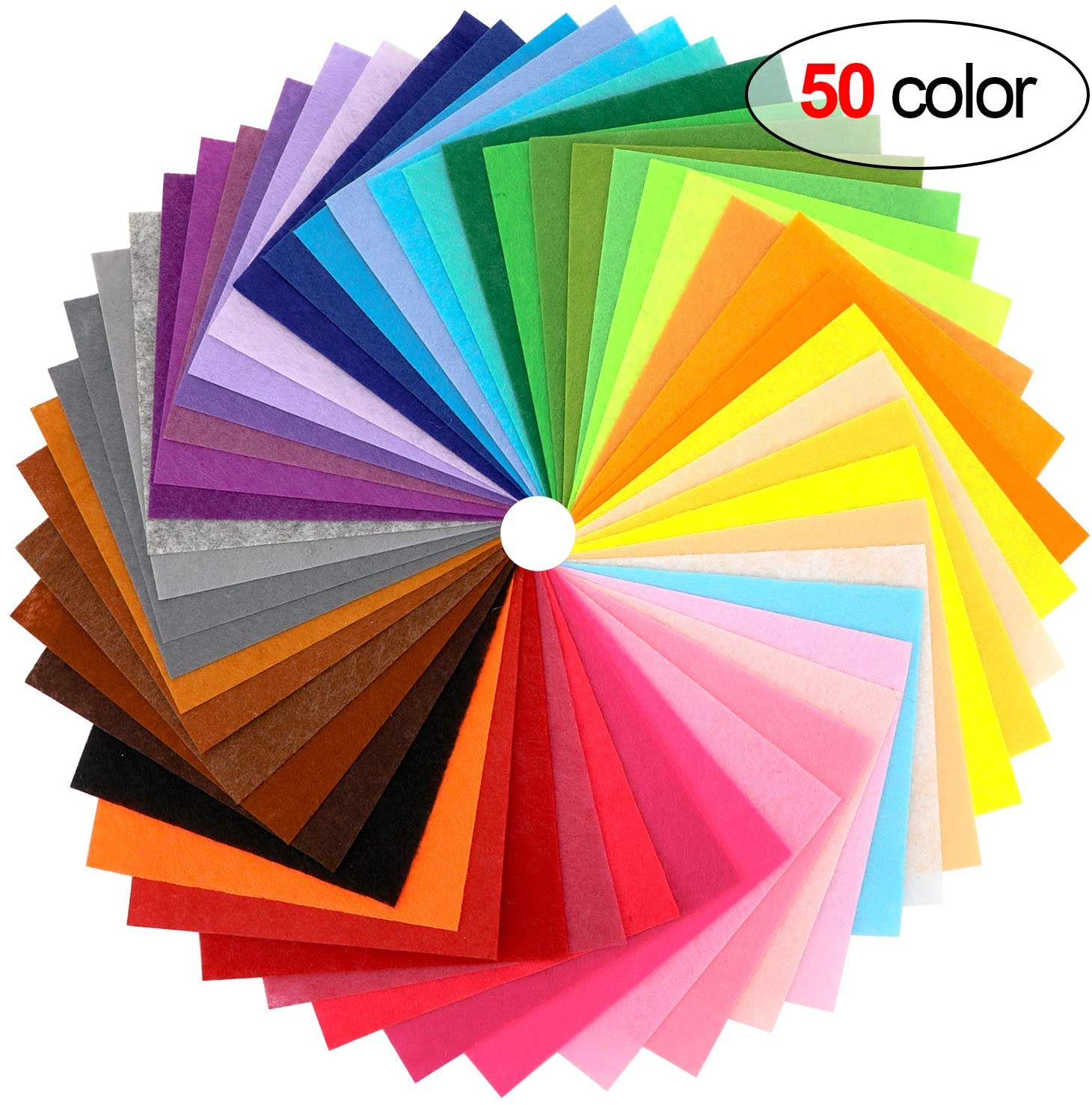 Konsait 50 Pieces Craft Felt Fabric Sheets 6 x 6 Inches with 1mm Thickness Assorted Color Stiff Sewing Material Squares Nonwoven Patchwork Sewing DIY Craft