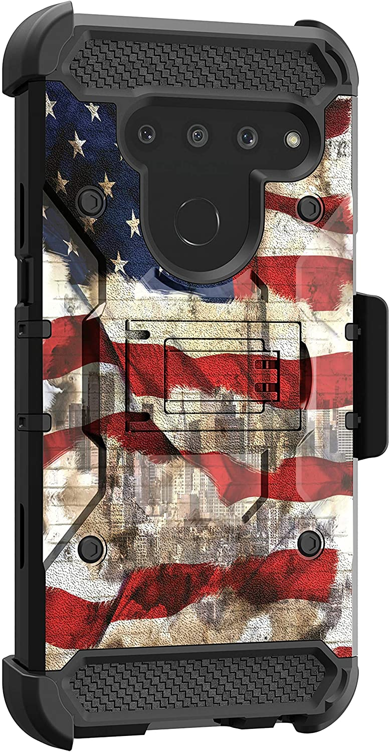 MINITURTLE Compatible with LG V50, LG V50 ThinQ Triple Layer Belt Clip Holster Armor Kickstand Case [Max Guard] - NYC American Flag