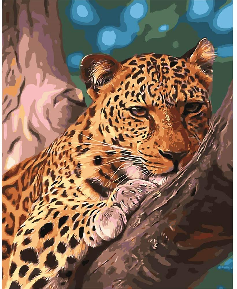 CHUNXIA DIY Oil Paint by Numbers for Kids and Adults Kits,16x20 Inch Canvas with Paintbrushes,Artwork Home Wall Decoration,Leopard Animal ZTY010-RA3134
