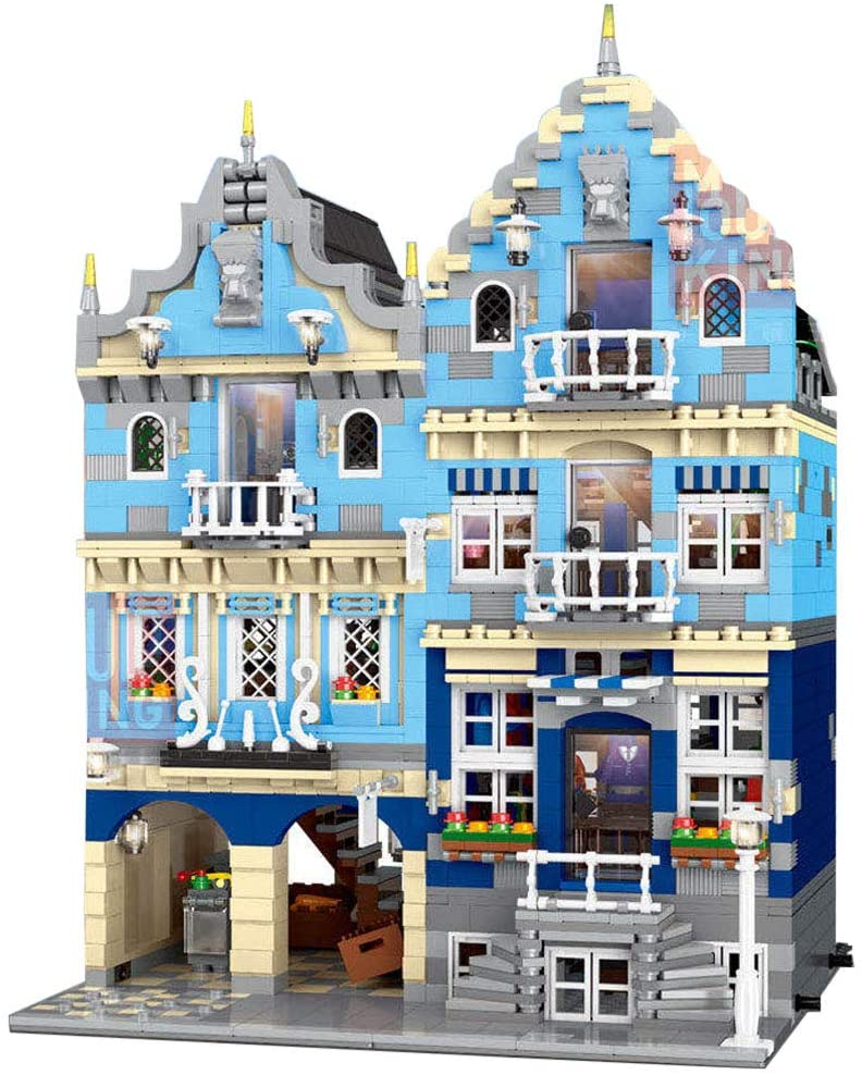 WOLFBSUH European Market Shop Building Kit, Street View City House Building Block with LED Light, Model Set and Assembly Toy for Kids and Adults (3016+Pcs )