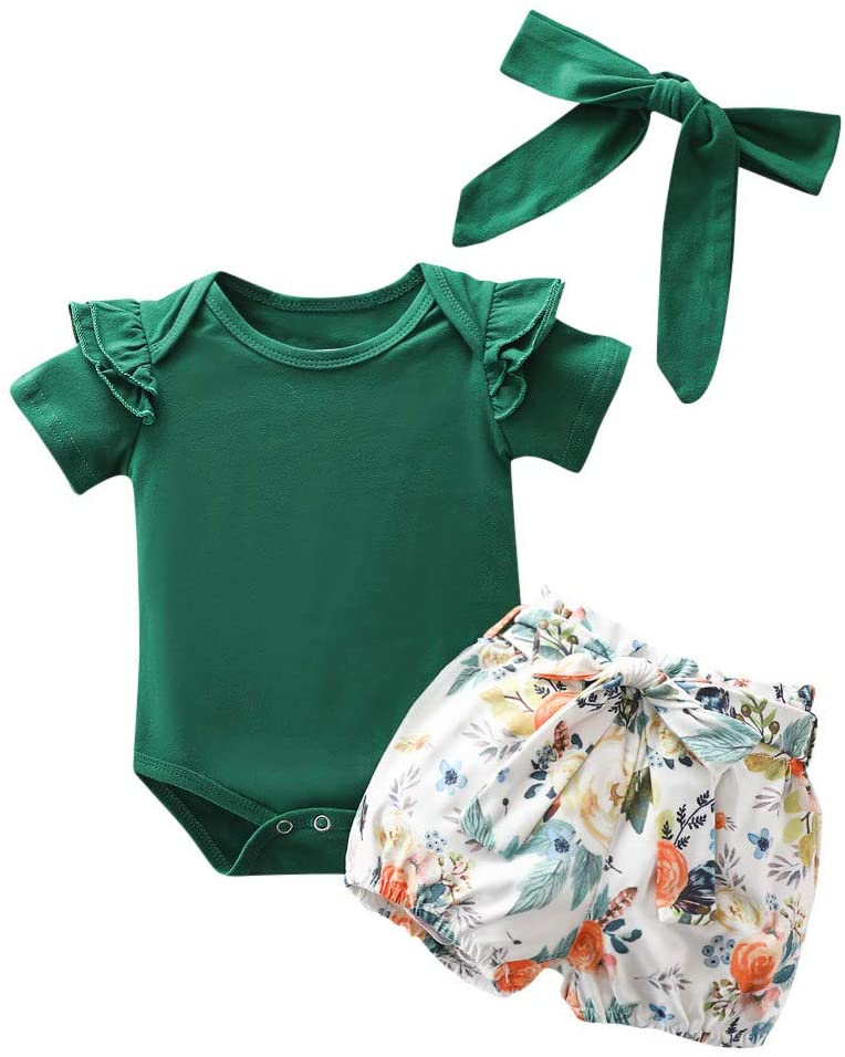 Newborn Infant Baby Girls Ruffles Romper Tops+Floral Shorts Outfits Headband Set Baby Kids Outfits Clothes
