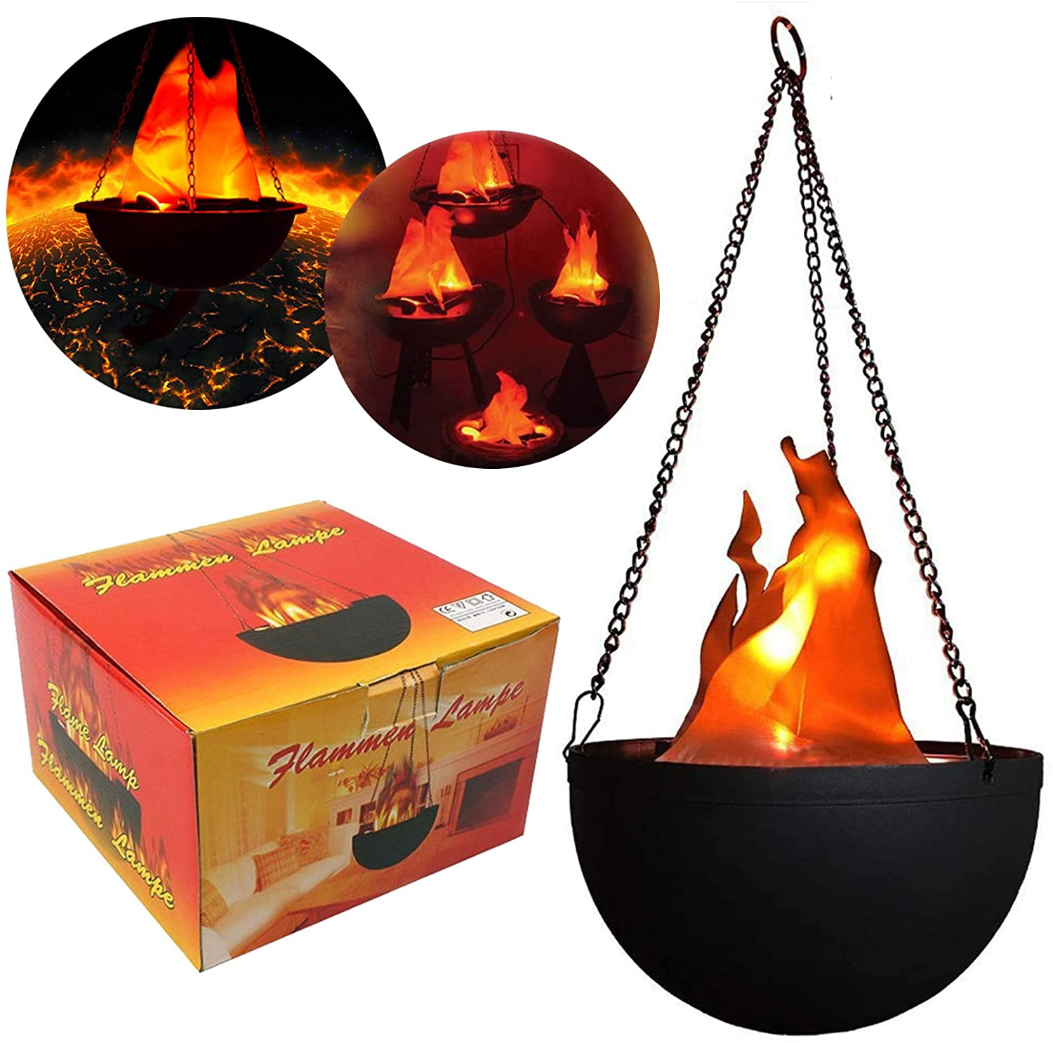 3D Fake Fire Light,Hanging LED Flame Light,Artificial LED Silk Flame Stage Effect Light Realistic Campfire Lamp Prop Flame Light for Halloween,Christmas,Festival,New Year, Party,Night Club Decor
