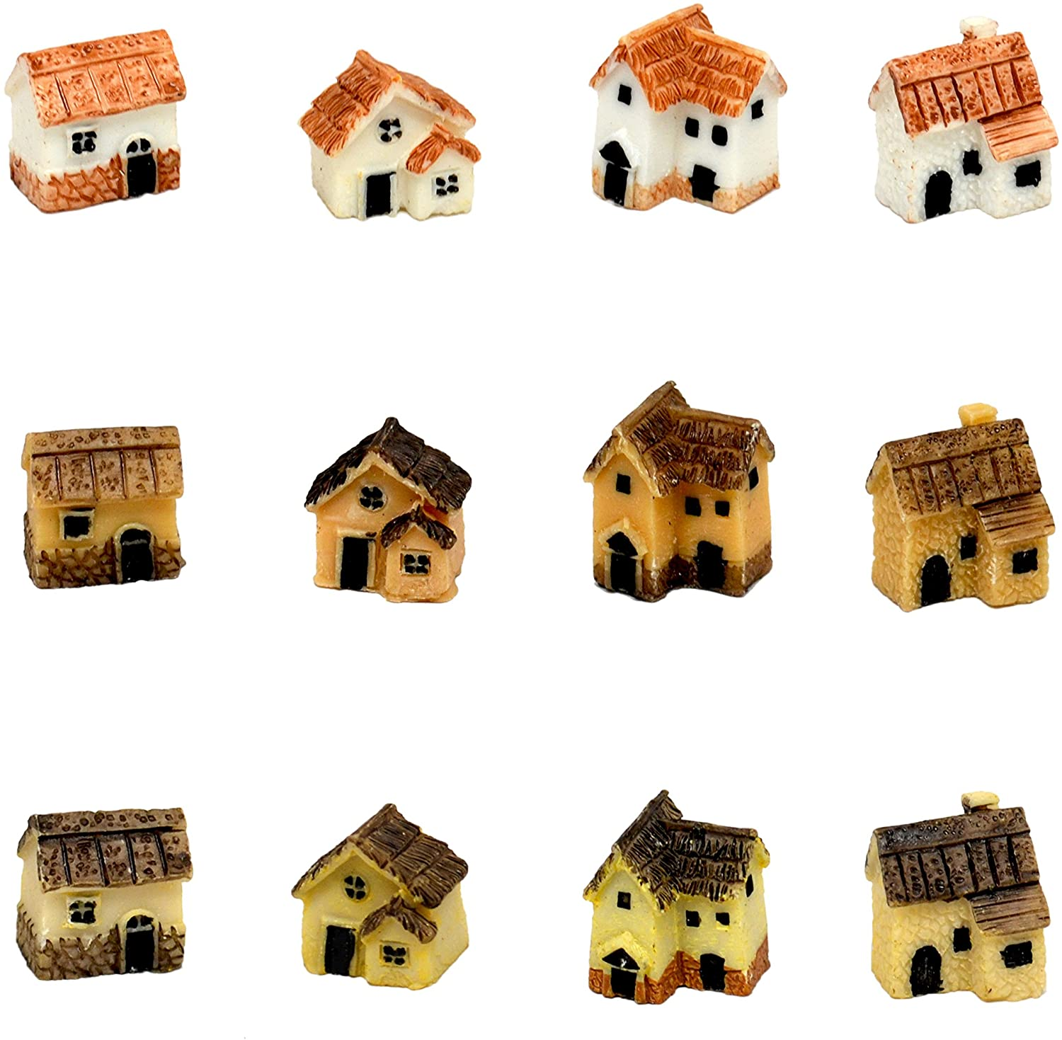 Pixie Glare Fairy Garden Miniature Micro Village Stone Houses 12 Pack. About 1 INCH Each - 12 Pack