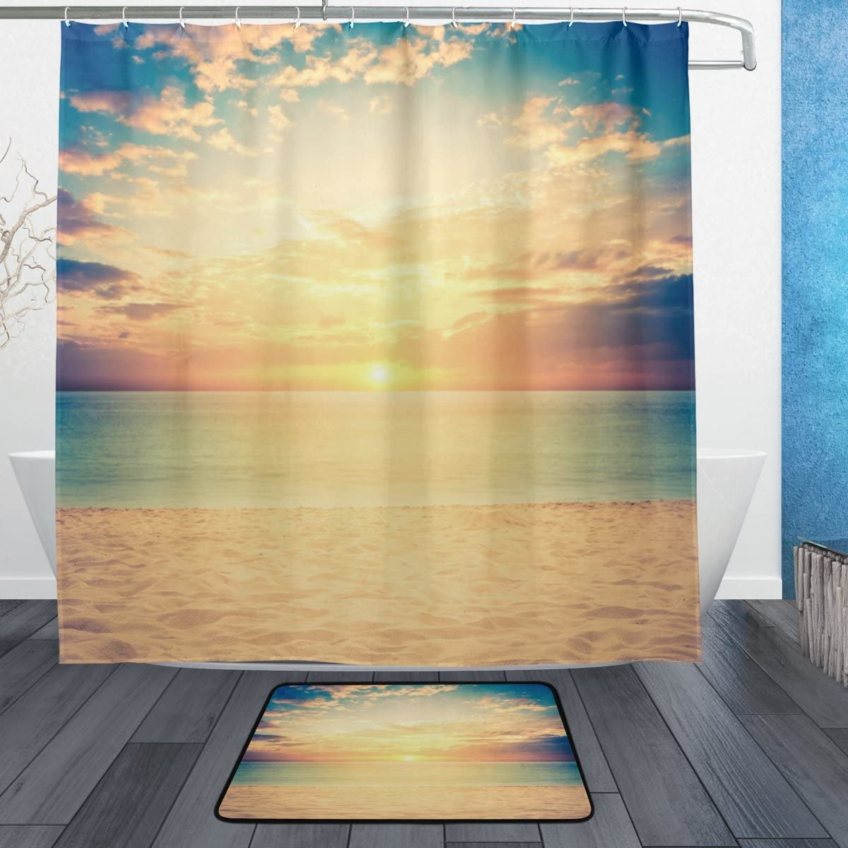 ALAZA Retro Sunset Ocean Beach Waterproof Polyester Shower Curtain for Bathroom 72 x 72 Inches, Home Decor Decoration Curtain 12 Hooks with Doormat Set