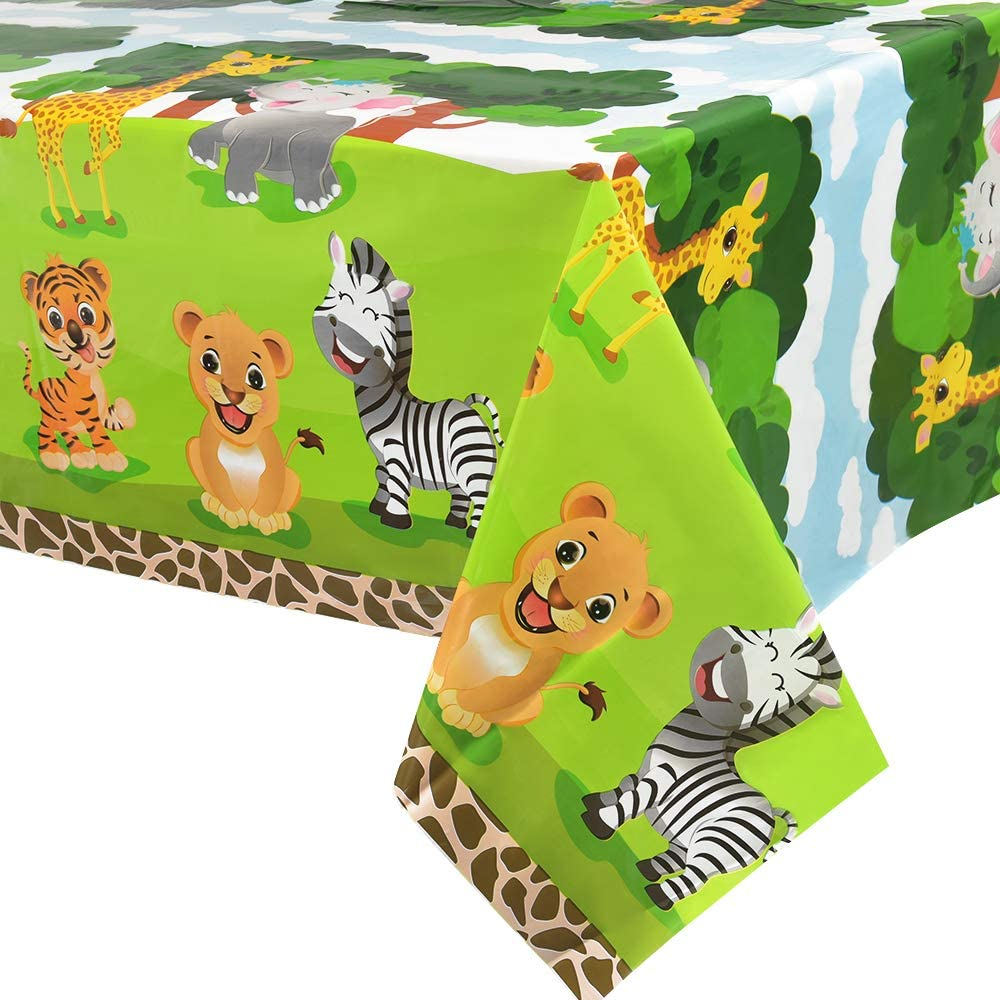 "WERNNSAI Safari Theme Party Tablecloth - 4 Pack 54"" x 108"" Full Printed Disposable Plastic Table Cover Zoo Jungle Animals Party Supplies for Kid Birthday Baby Shower Party Decorations"