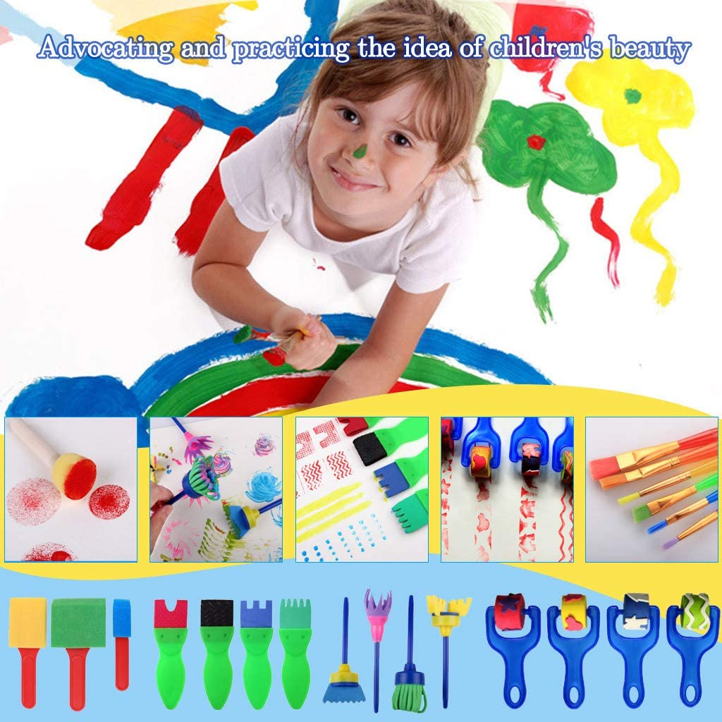Paint Brushes for Kids Sponge Set, Fun Paint Brushes for Toddlers Children's Graffiti Brush Sponge Seal Art Supplies Painting Materials Early Learning Crafts Drawing Tools for Kid Children