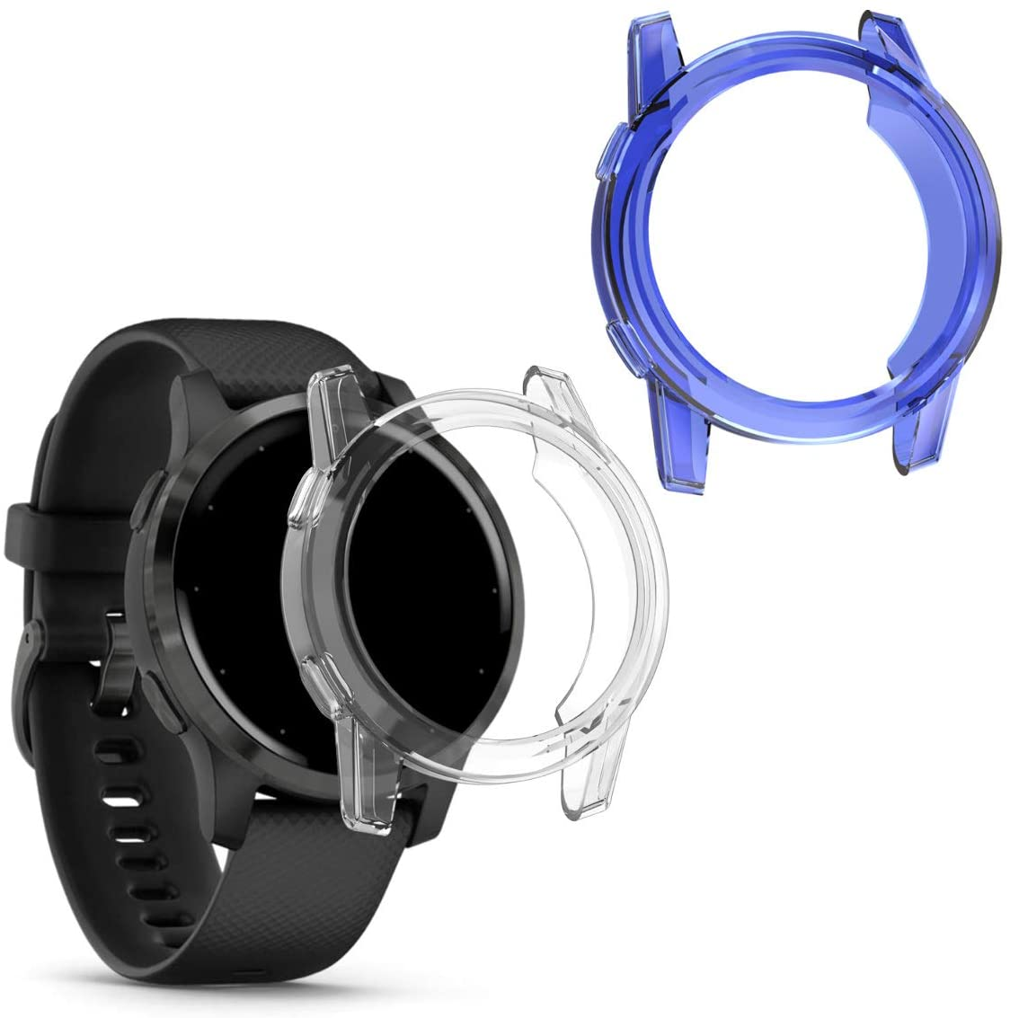 kwmobile 2-Pack Fitness Tracker Frame Compatible with Garmin Vivoactive 4S - Sport Tracker Accessory TPU Silicone Case - Transparent/Blue/Transparent