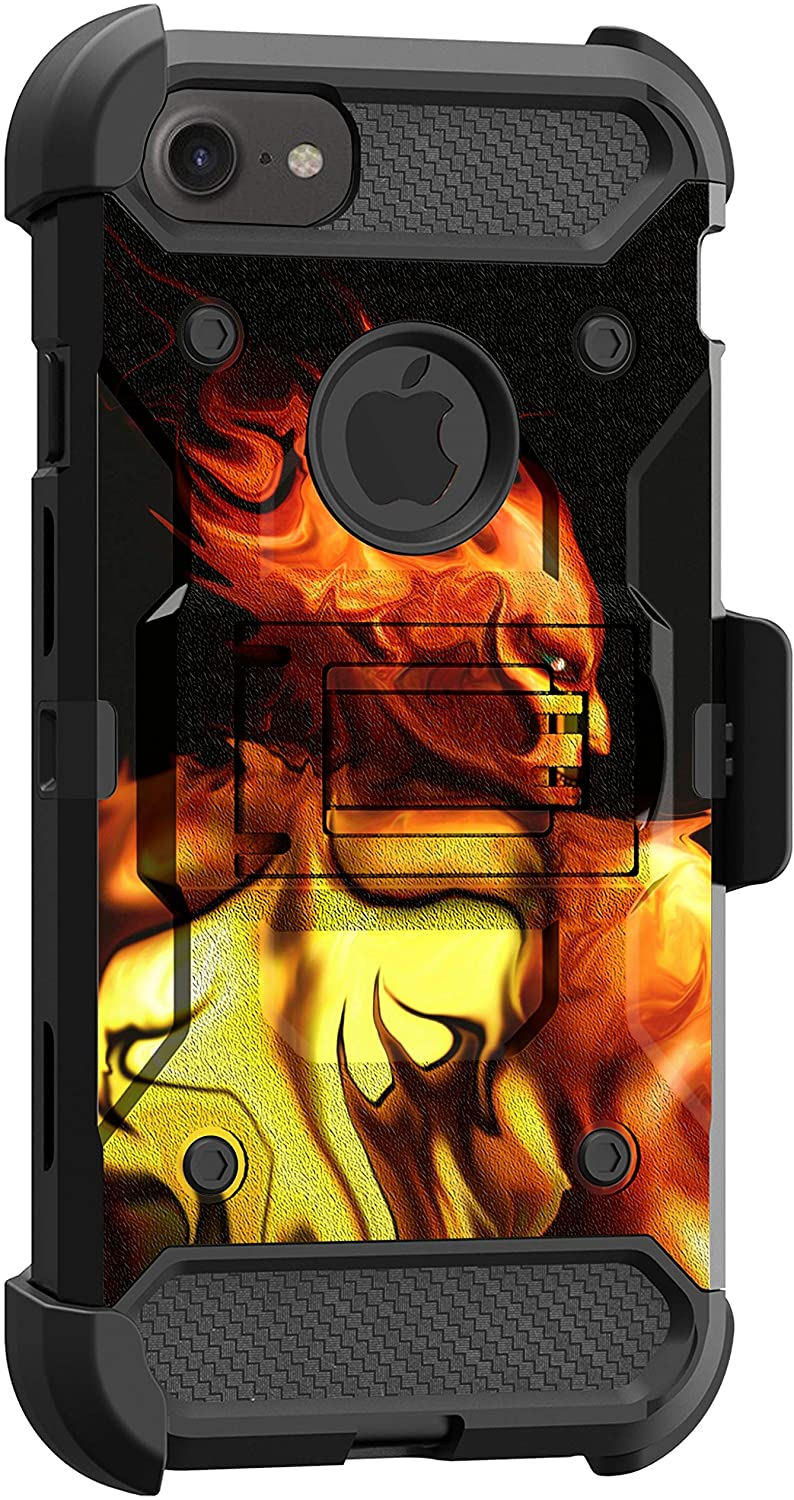 MINITURTLE Compatible with Apple iPhone SE 2, Apple iPhone SE 2020 Heavy Duty Triple Layer Combo Rugged Holster Protective Case Cover [Max Guard] - Flaming Devil