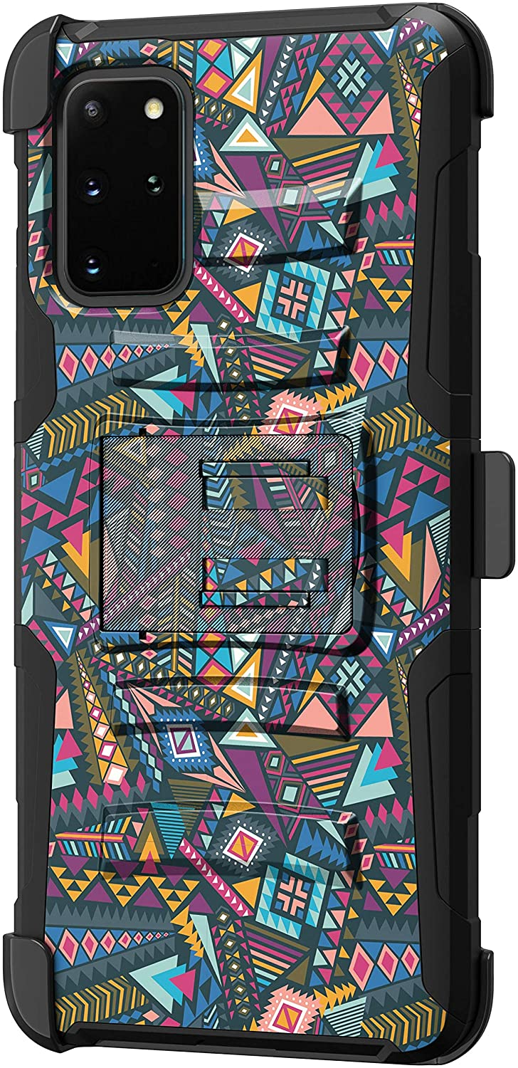 TurtleArmor | Compatible with Samsung Galaxy S20+ Plus Case 6.7 | Samsung Galaxy S11 Case [Hyper Shock] Hard Reinforced Rugged Impact Belt Clip Holster Kickstand Girls - Colorful Tribal Abstract