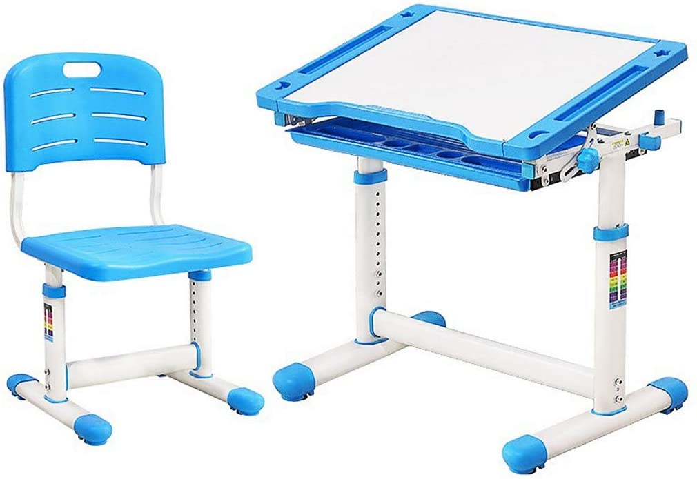Buybyebye Multifunctional Height-Adjustable Children's Study Table and Chair Set with Tilting Table top and Drawers, Suitable for Boys and Girls Aged 3 to 18 (Blue)