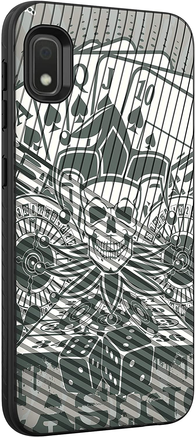 TurtleArmor   Compatible with Samsung Galaxy A10e Case   Galaxy A20e Case   Slim Hybrid Engraved Grooves Hard Shell TPU Dual Layer Case - Joker Skull