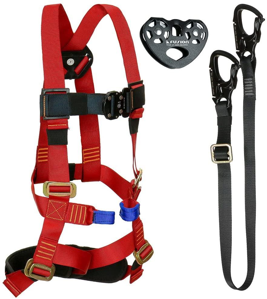 Fusion Climb Tactical Edition Kids Commercial Zip Line Kit Harness/Lanyard/Trolley Bundle FTK-K-HLT-04