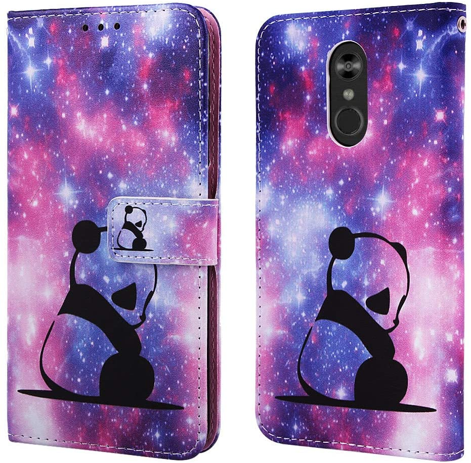 ISADENSER Case for LG Stylo 4 Case LG Stylo 4 Cover [Wallet Stand] Cute Animals Flip Folio Notebook PU Leather Case with Magnetic Close Card Holder Slots Pouch Case for LG Stylo 4 Glitter Panda YB