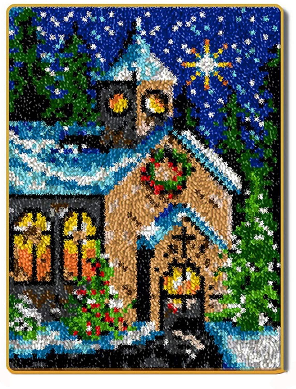 Christmas Theme Latch Hook Kit DIY Crochet Rug Kit Rug Making Kits 5238 cm/20.515 inch,Green
