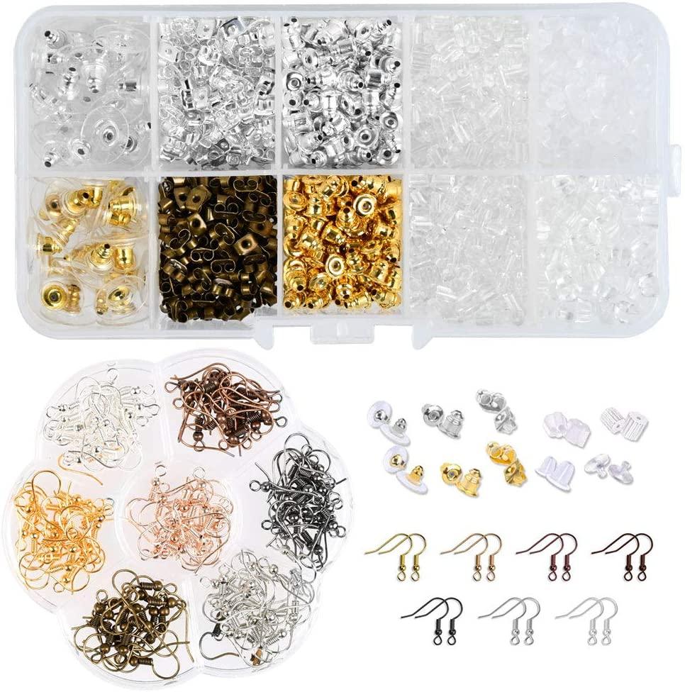 YANSHON 1040 PCS Earring Earring Making Supplies, Earring Backs Fish Hook Earrings for DIY Jewelry Findings and Earring Repair