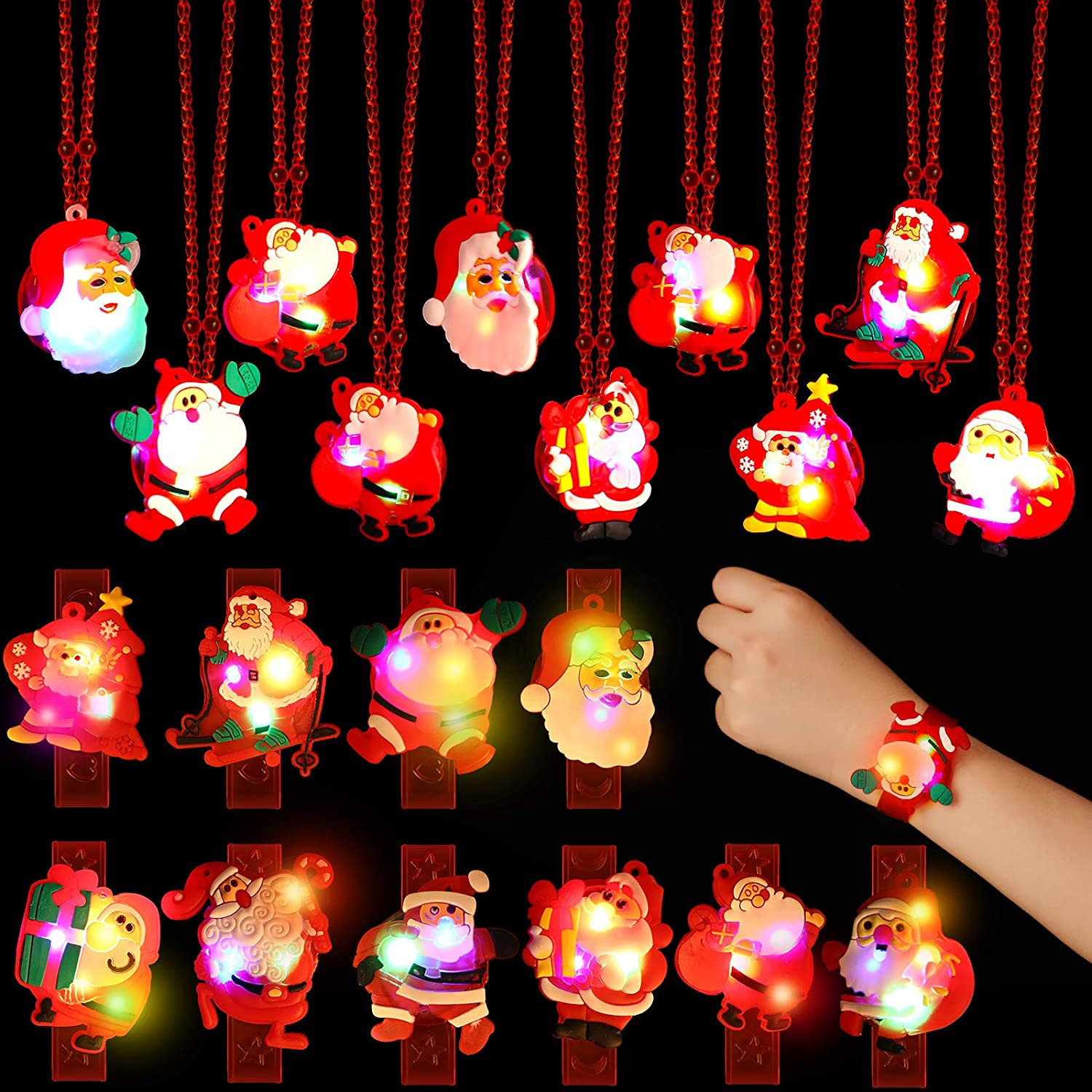 30 Christmas LED Light up Party Favor Necklace Bracelet Wristband Christmas Light up Toy for Men and Women Ornaments Decorations with Package