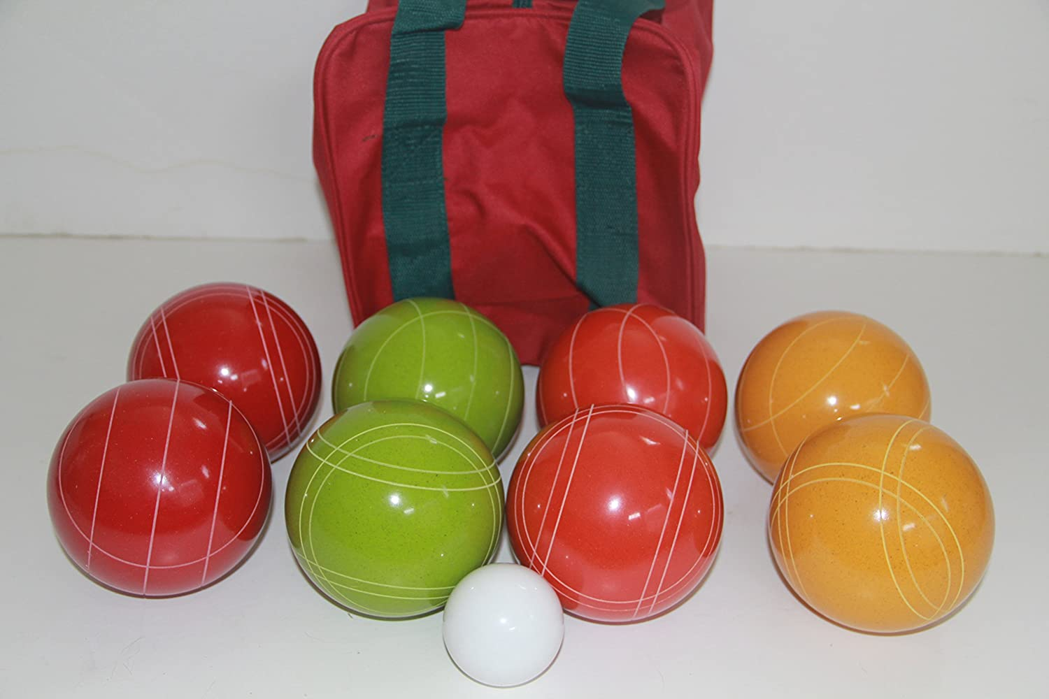 Premium Quality and Italian/American Made, 110mm EPCO Bocce Set - Rustic Yellow/Orange/Red/Greenballs and Maroon/Green Bag