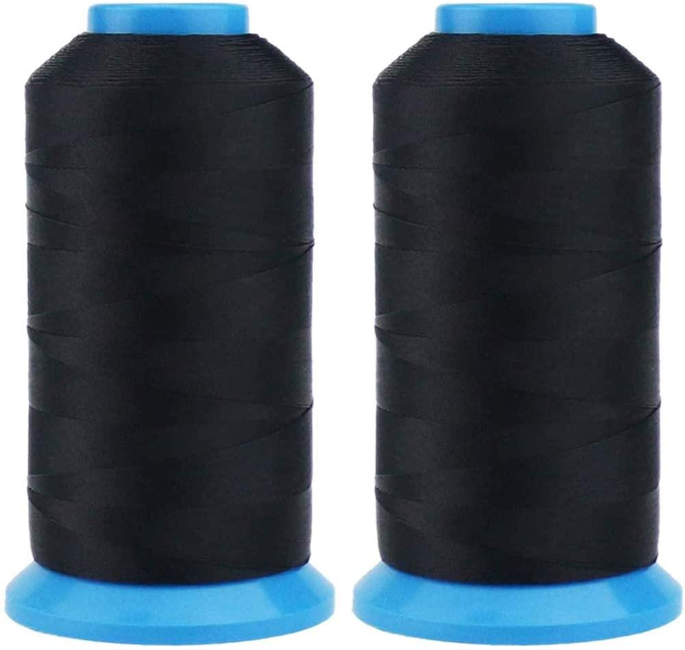 TIHOOD 2PCS 1500 Yard Size T70#69 Bonded Nylon Sewing Thread for Weaves Black