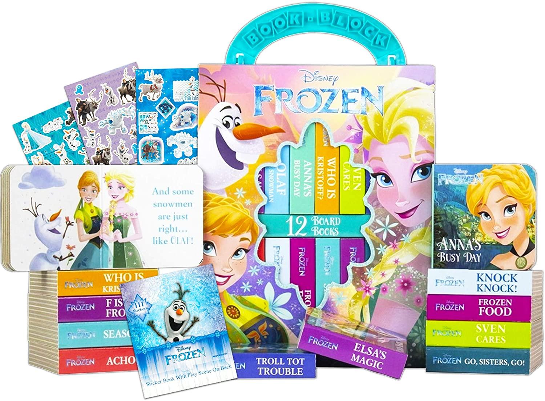 Disney Frozen Storybook Collection Set Disney Board Books Bundle ~ 12 Pack Disney Frozen My First Library Block Books with Frozen Reward Stickers (Disney Frozen Story Book Set)