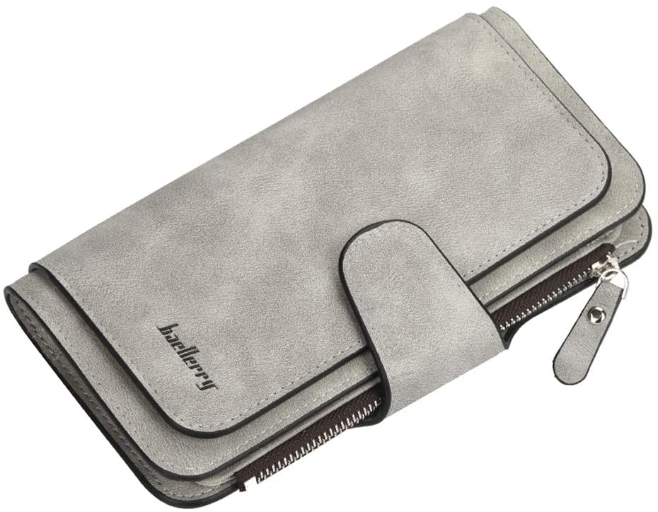 Women's Long Leather Wallet Cash Credit ID Card Holder Zipper Large Capacity Soft Clutch Purse Fashion Wallet (Light Gray)