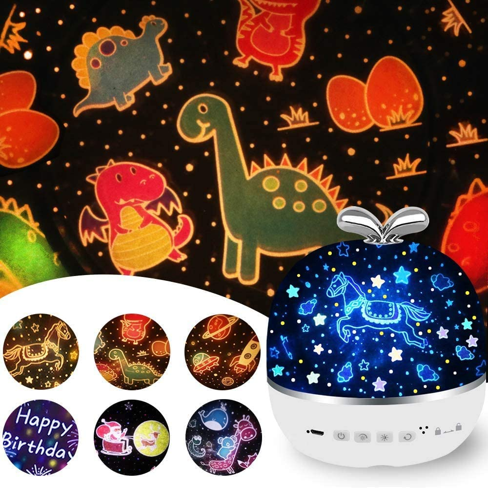 Star Projector Night Light for Kids, Rechargeable 6 Films Night Projector Lamp,3 Diammable Modes & 360 Degree Rotation Projector Light, for Baby Nursery, Kid Room Decor