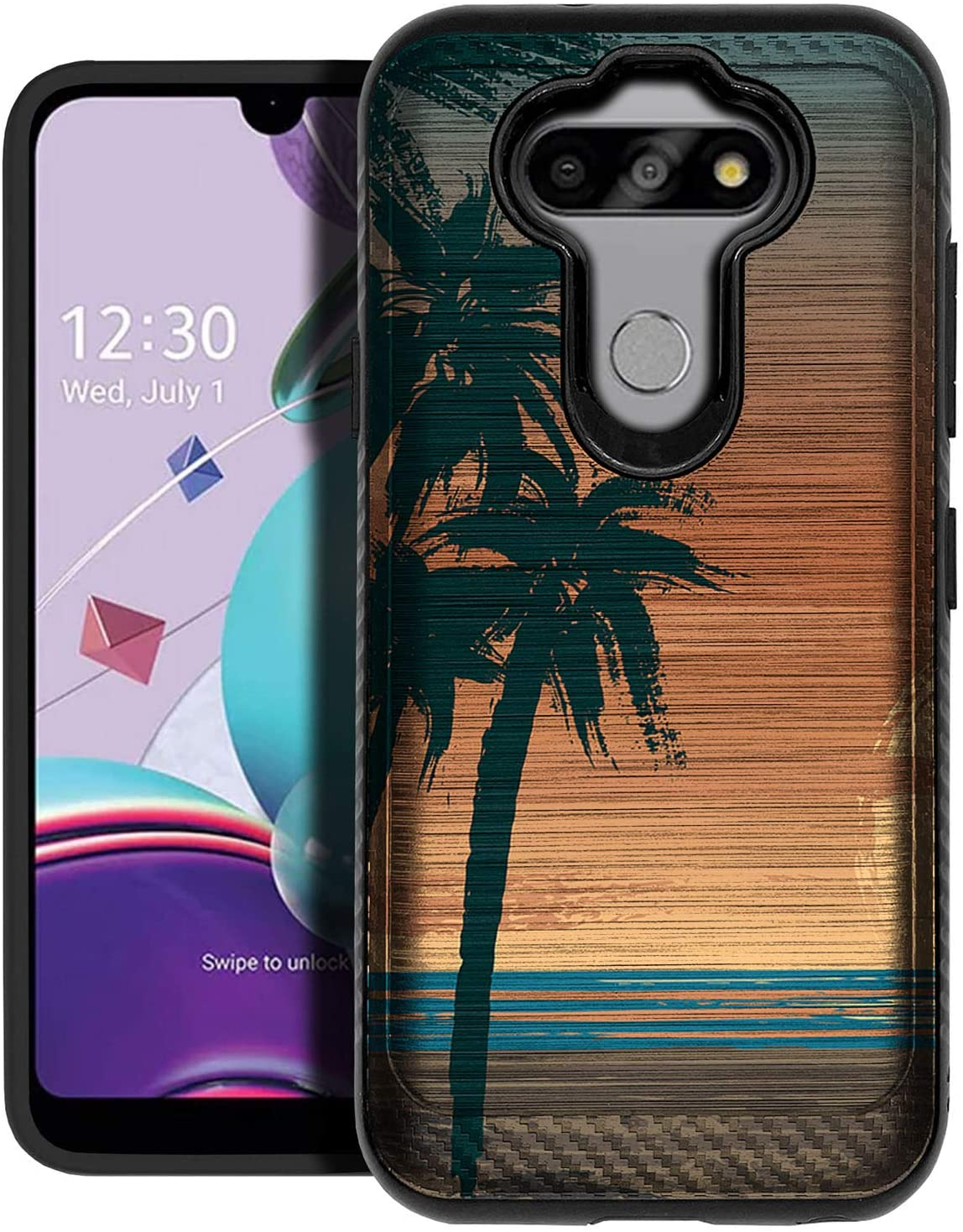 CasesOnDeck Cover Case Compatible with [LG Aristo 5/ Fortune 3/ Tribute Monarch/ K31/ Phoenix 5] [Brushed Armor] Heavy Duty Protection Matte Black Case (Beach Palms)