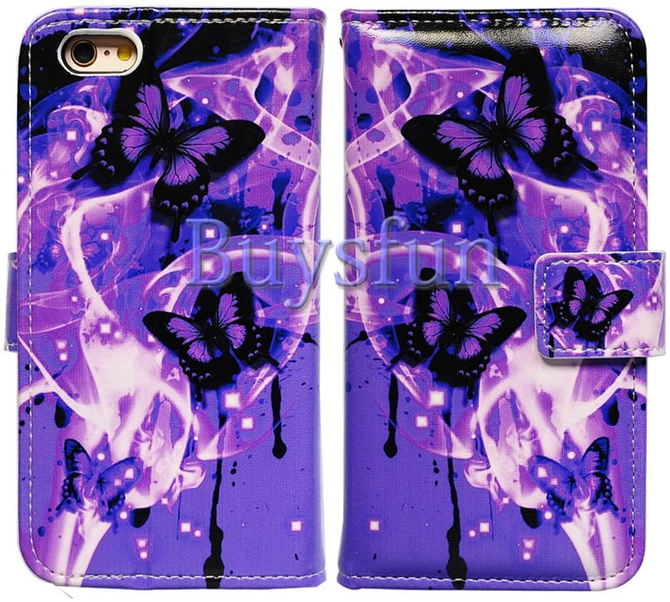 Bfun Packing Bcov Purple Butterfly Stand Credit Card Slot Magnetic Leather Wallet Cover Case for iPhone 6 Plus/6S Plus