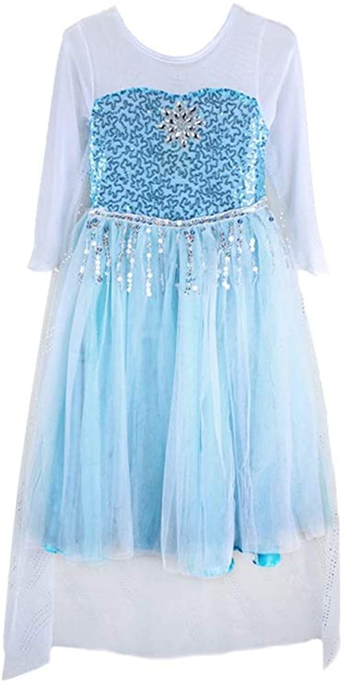 FE10 Lace Elsa Dress Girl Halloween Costume Party 2T-10 USA