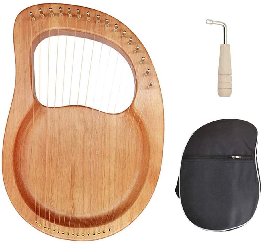 Lyre Harp,16-String Lyre Piano Steel Wire Strings Mahogany Plywood Body Mahogany Veneer Topboard String Instrument with Carry Bag,Instrument for Beginner