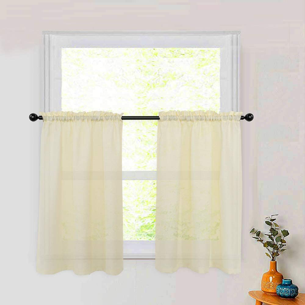Kitchen Tier Curtains 24 inches Long Semi Sheer Curtain Tiers Cafe Curtains Half Window Curtain Panels Bathroom Small Short Curtain Sheers 2 Panels Rod Pocket Ivory