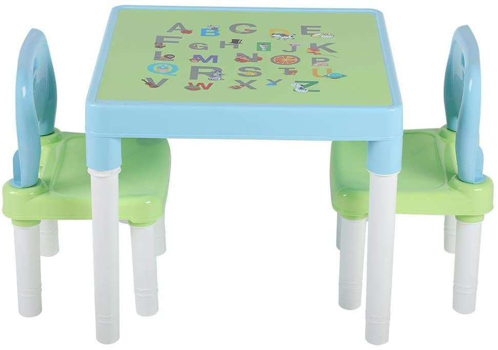 Ejoyous Childrens Kids Plastic Table and 2 Chairs Set, 3 Pc Table & Chair Set Learning Studying Desk Lightweight for Home Kindergarten(Blue Green + Letter Foil)