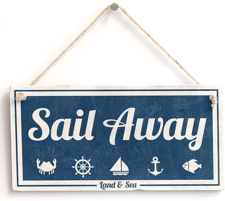 Meijiafei 'Sail Away (Land & Sea)' - Nautical Sign - Vintage Sign/Plaque 10