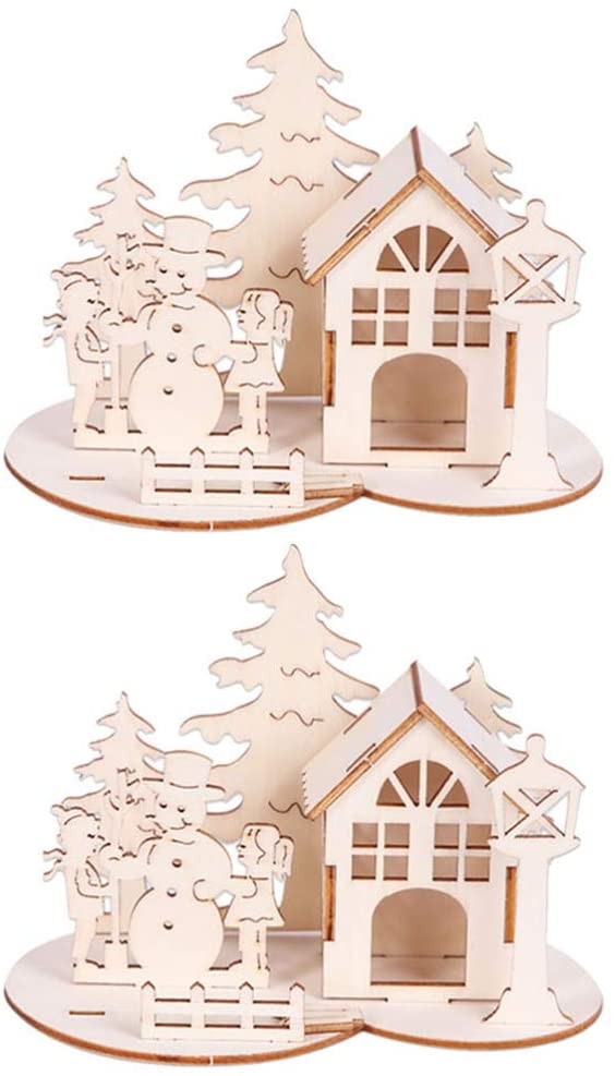 Amosfun 2pcs Christmas 3D Wooden Puzzle Toy Desktop Snowman Ornaments Xmas Holiday Gifts