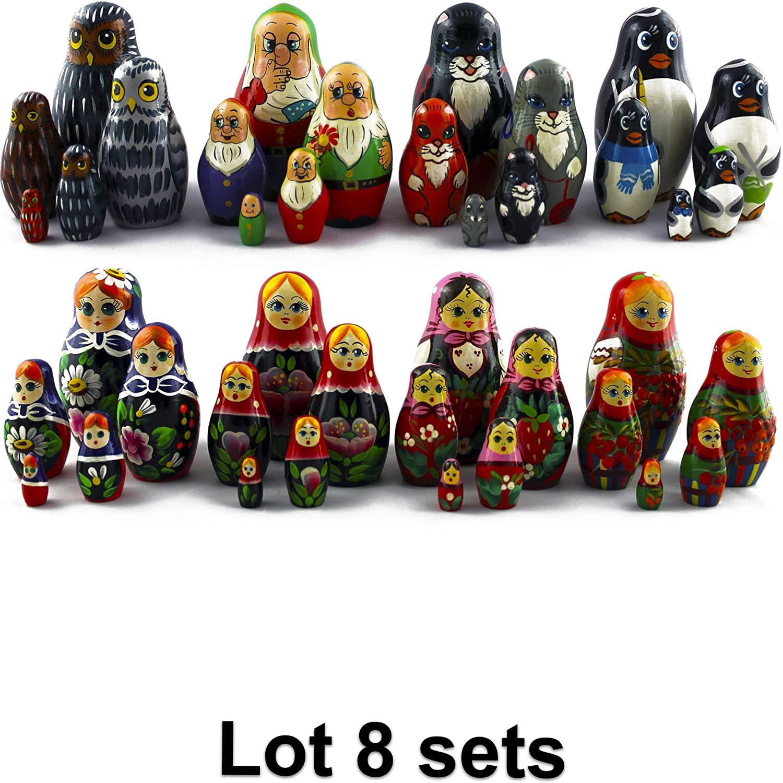 MATRYOSHKA&HANDICRAFT Lot 8 Russian Nesting Dolls Sets 5 pcs - Christmas Stocking Stuffers for Kids