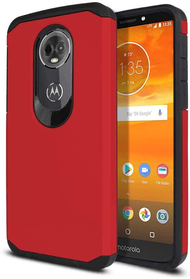 WIRESTER Case Compatible with Motorola Moto E5 Plus 6 inch / E5 Supra, Dual Layer Hard Back Hybrid Protector Case Cover Anti Shock TPU for Moto E5 Plus (NOT FIT E5 Play) - Red/Black