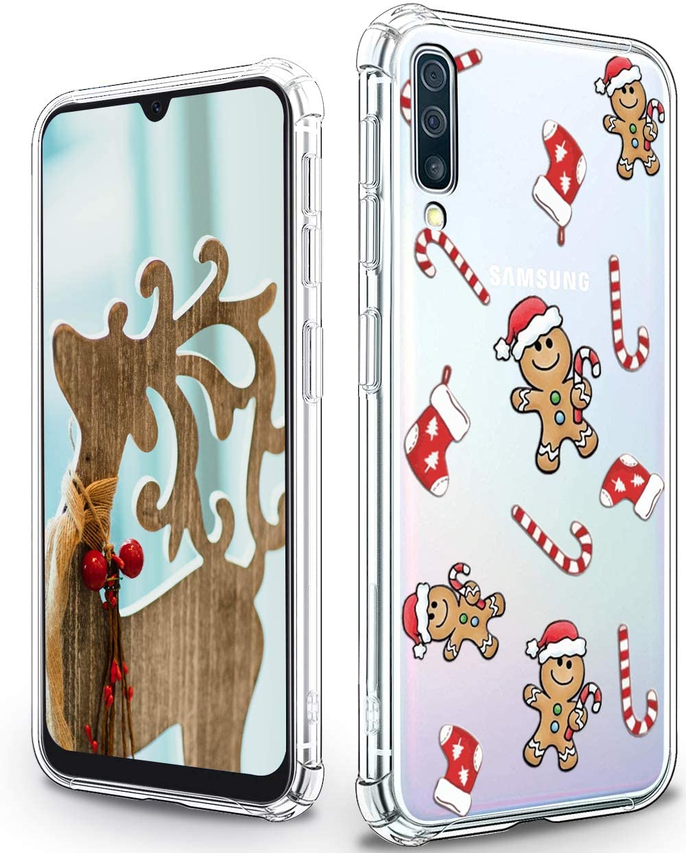 Samsung Galaxy A50 Case,Cute Gingerbread Man Patterns for Girls Women,Shockproof Slim Fit TPU Cover Protective Phone Case for Samsung Galaxy A50 - Gingerbread Man
