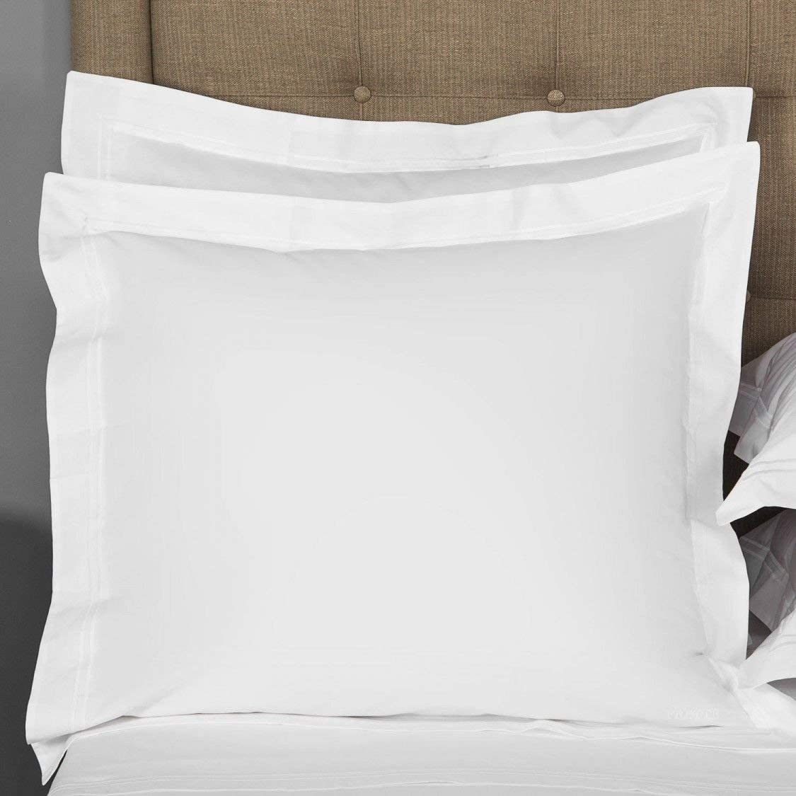 Noble Comfort Linen Hotel Luxurious Quality 2 Piece Euro Shams 100% Organic Cotton 650 Thread Count Pattern Solid (16 x16 Color White)